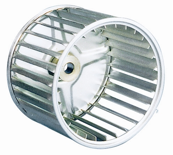 """Picture of Single Inlet 5 1/4"""" x 2 1/2"""" CCW Galvanized Blower Wheel"""