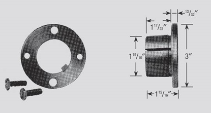 """Picture of Split Tapered, P-Style Bushing Hub 1 7/16"""" Bore"""