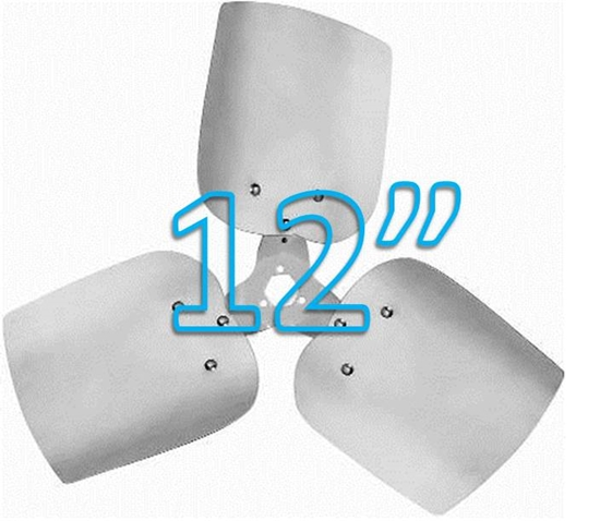 """Picture of 3-Blade 12"""" 19° CCW Condenser Style, Heavy Duty Propeller"""