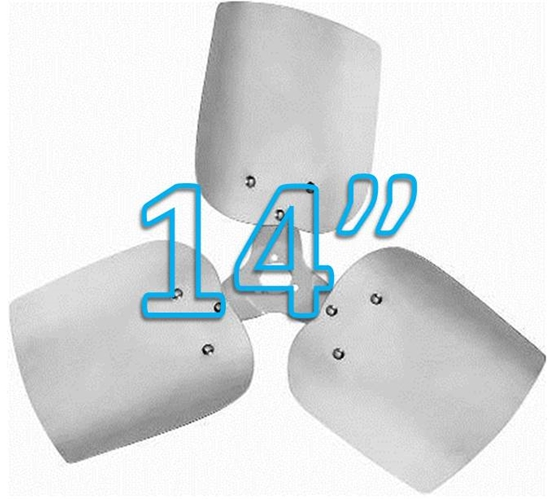 """Picture of 3-Blade 14"""" 19° CW Condenser Style, Heavy Duty Propeller"""