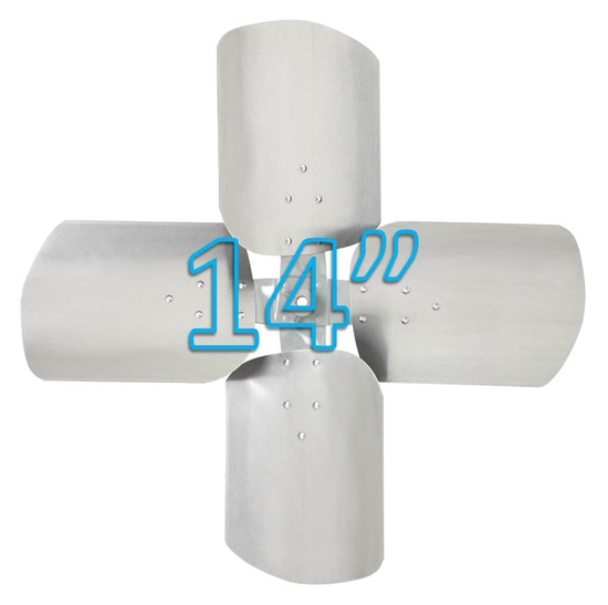 """Picture of 4-Blade 14"""" 23° CCW Condenser Style, Heavy Duty Propeller"""