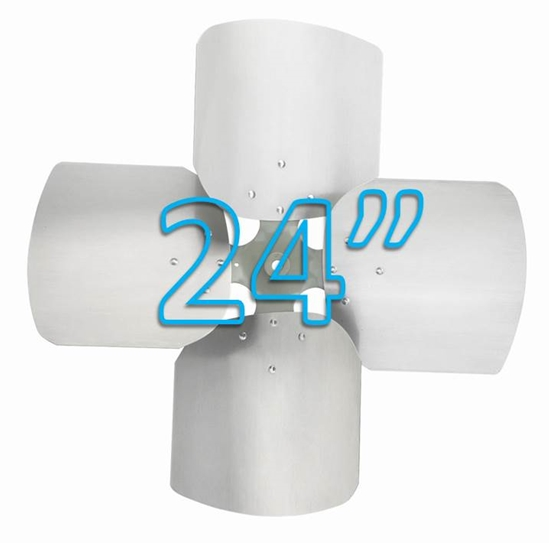 """Picture of 4-Blade 24"""" 20° CW (1/2"""" Bore) Condenser Style, Heavy Duty Propeller"""